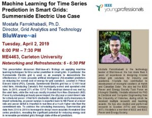 "Machine Learning Seminar: ""Machine Learning for Time Series Prediction in Smart Grids: Summerside Electric Use Case @ Carelton University ME4463 