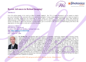 Recent Advances in Retinal Imaging! @ Room 4359, Mackenzie Building | Ottawa | Ontario | Canada