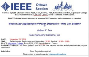 Modern Day Applications of Power Electronics – Who Can Benefit? @ Room P208, Algonquin College | Ottawa | Ontario | Canada