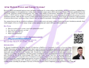 AI in Modern Power and Energy Systems @ Room 4359, Mackenzie Building | Ottawa | Ontario | Canada