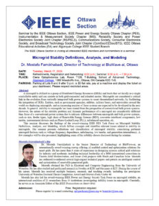 [CANCELLED] IEEE Ottawa seminar on Microgrid Stability Definitions, Analysis, and Modeling @ Algonquin College, T-Building, Room T129 | Ottawa | Ontario | Canada